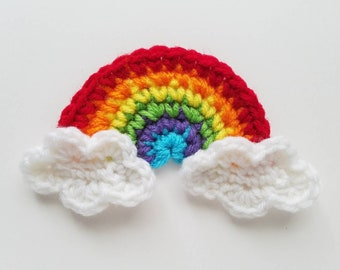 "NEW- Small 4.5""  Red RAINBOW with CLOUDS Crochet Applique"