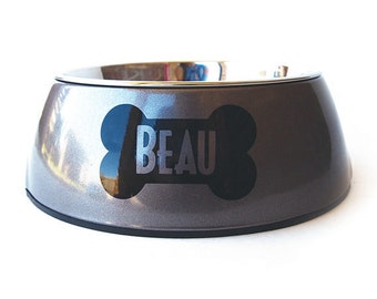 Personalized Dog Bowl with Bone - Stainless Steel Removable Insert - Shimmer and Shine