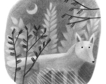 Coyote Under Moon - Original drawing