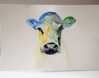 Original Watercolor Painting-Colorful Cow