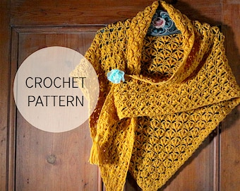 Olivia's Shawl - crochet shawl pattern UK and US terms