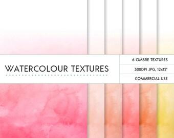 Coral & orange ombre fade watercolor digital papers