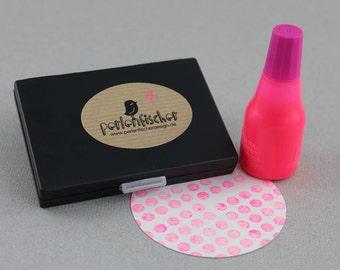 Neon Pink Set - Stamp Pad + Ink (refillable)