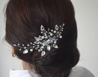 Bridal hair piece Wedding pearl hair comb Bridal crystal silver hair comb crystal headpiece wedding hair piece Rhinestone hair jewelry