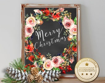 Christmas wall art, Merry Christmas, Holiday decoration, Orange Willow Designs, Christmas decoration, Christmas Printable art, watercolor