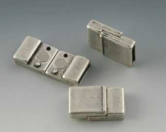 Antique Silver Small MAGNETIC FLAT Leather Closure / 10mm Leather Clasp 13x20 / 1 clasp / Jewelry Making Supplies