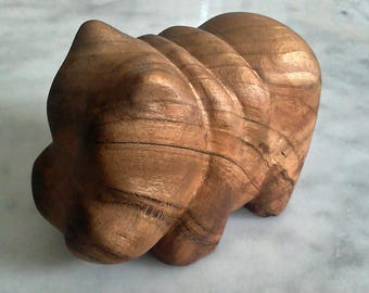 Small Hand Carved Wooden Hippo or Custom Whittled Animal