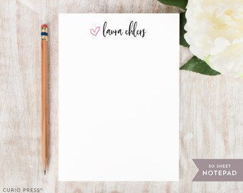 Personalized Notepad - ADORABLE - Stationery / Stationary Notepad - preppy cute heart simple colorful