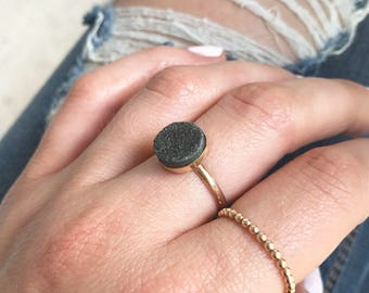 10 mm Gold Druzy Ring, Druzy Ring, Black Druzy Ring, Black Druzy, Druzy Jewelry