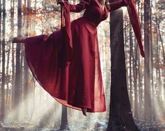 Melisandre - fantasy medieval dress, Game of Throne, elves dress, priestess fairy sorceress medieval dress cosplay LARP