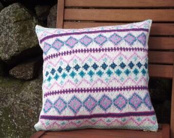 Hand Knit Fair Isle cushion cover