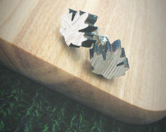 Wooden Maple Leaf Canada Silver Stud Earrings - Nature, Leaves, Canadian