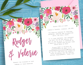 Watercolour Floral Summer Wedding Ceremony Invites