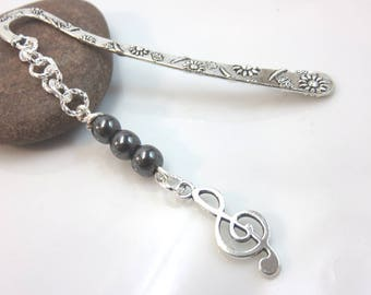 hematite bookmark - silver metal bookmark - silver music bookmark - treble clef charm bookmark - silver bookmark musician gift music gift