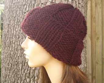 Red Knit Hat Red Womens Hat - Red Watchman Cap Red Burgundy Knit Hat - Red Hat Red Beanie Burgundy Hat Womens Accessories Winter Hat