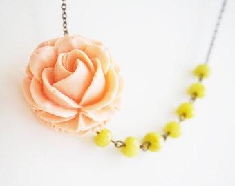 Flower Necklace Coral Necklace Flower Necklace Olivine Necklace Bridesmaid Jewelry Bridesmaid Gift Bridesmaid Set Wedding Necklace Gift