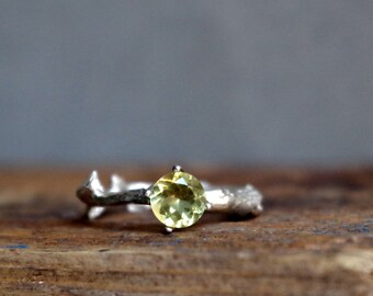 Lemon Yellow Quartz Twig Ring Alternative Engagement Ring Sterling Silver Botanical Ring Sunshine February Birthstone