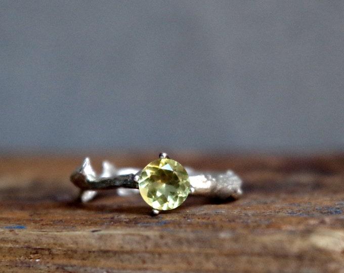 Lemon Yellow Quartz Twig Ring Alternative Engagement Ring Sterling Silver Botanical Ring Sunshine February Birthstone