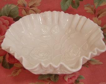 Milk Glass Rose Bowl