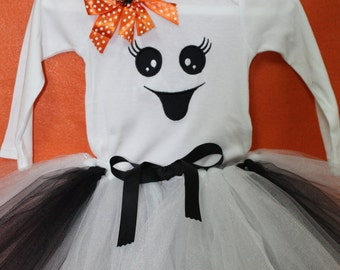 Halloween Ghost baby girl outfit, Halloween ghost costume,Halloween tutu, Black and white, Halloween headband, Halloween Ghost baby costume