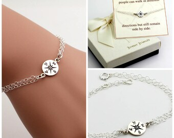 Compass bracelet, best friends, sister bracelet. Journey bracelet. Friendship bracelet. Best friend., gift for her