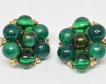 Lovely Green Color Beads and Gold tone Earrings