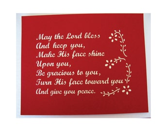 May the Lord Bless and Keep us...Paper Cut Blessing Wall Art Inspirational 10X8
