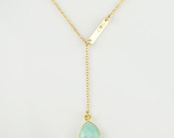 Personalized bar Birthstone necklace, Lariat Necklace, Y necklace, nameplate necklace, name bar jewelry, custom birthstone necklace bar