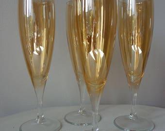 Amber Gold Fire Lustre Champagne Flutes Set of 4
