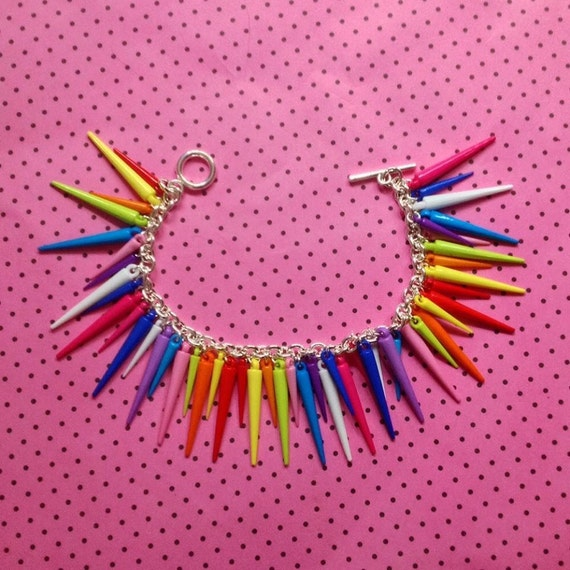 Spikey rainbow bracelet, Colourful gift for her, Gift idea for friends, Birthday present for teens, Bright Bridal wear, Summer Wedding