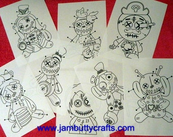 9 Colouring in sheets Voodoo Doll Style!. Set #1  Printed & Posted to you. FREE UK Posting. Adult Colouring. Colouring Sheets. Art Therapy.