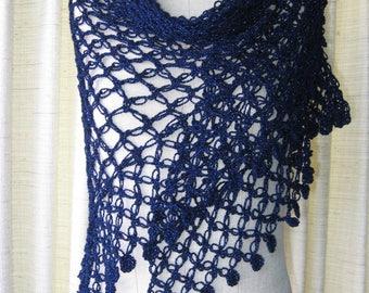 GLAMOUR in Sapphire: Shimmering Crochet SHAWL Wrap / Feminine Gift