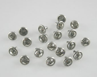 20 Sets Glass Rhinestones White Diamond Crystal Rivet Stud Decorations 8 mm. RIN Wh 8A RV K