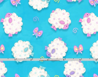 Sheep Fabric, Easter Quilt Fabric, Henry Glass Hop to It HEG 6859 11 Shelly Comiskey, Easter Fabric, Sheep Quilt Fabric, Baby Girl Cotton