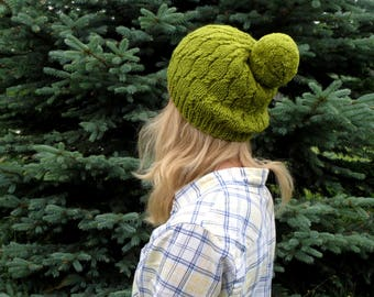 Large pom pom hat giant pom kelly green hat green wool beanie green winter beanie st patricks hat olive green st patricks day hat green cap