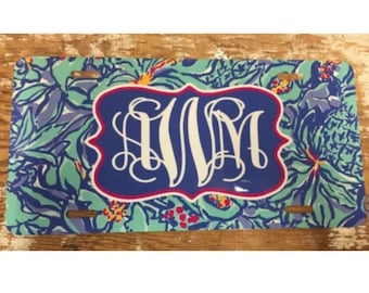 Lilly Pulitzer License plate mai tai monogram car tag personalized Lilly Pulitzer car tag