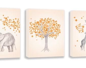 Baby Art, Elephant Wall Art, Giraffe Wall Art, Nursery Wall Art, Animal Art, Set Of Three Gallery Wrapped Canvases - SO84BC