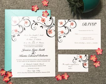 Modern Flower Wedding Invitation