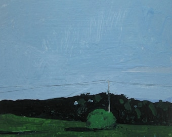 East Field, Original Landscape Painting on Paper, Stooshinoff