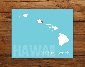 Custom Hawaii, Personalized State Art, State Print, State Love, State Map, Country, Heart, Silhouette, 8 x 10 Wall Art Print