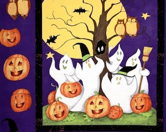 Ghost Story Halloween Panel Cotton Sewing Quilting Fabric