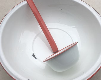 White Enamelware Basin Bowl and Ladle Dipper Red Trim Vintage Shabby Chic Rustic Outdoor Camping