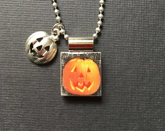 Jack-o-Lantern Pendant, Halloween Pumpkin Necklace, handmade scrabble tile jewelry, Halloween Jewelry, Halloween Gift, Pumpkin charm