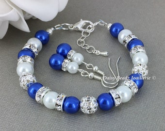 Royal Blue and White Bracelet Bridesmaid Bracelet Maid of Honor Bracelet Royal Blue Bracelet Destaintion Wedding