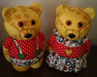 Polystyrene fabric patchwork bear couple