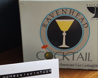 Set of four vintage martini glasses in original box