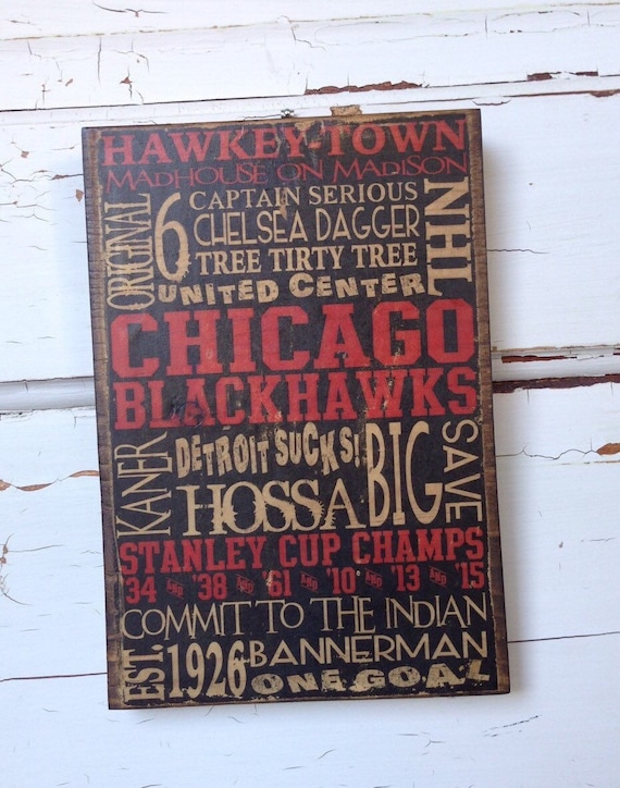 "Chicago Blackhawks Hockey Wood Sign, Husband Gift For Him, NHL Gift For Dad, Hawkey-Town Sign, Hockey Words on Wood, NHL Team Sign, 5""x8"""