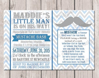 Boys Baby Shower Invite, Mustache Bash, Printable, Blue & Grey, Digital Photo Invitation