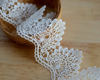 """5 meter 6cm 2.36"""" wide black/ivory  embroidered fabric lace trim tapes ribbon 3643 free ship"""