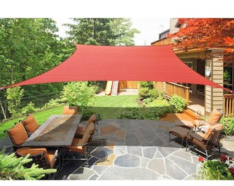 Custom Sized Rectangular and Square Sun Shade Sail with Stainless Steel hardware kit - Terracota Red